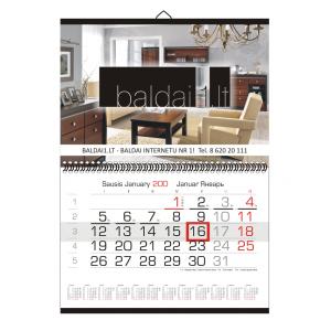Mažas sieninis kalendorius (310x440 mm) 1 reklam. plotas
